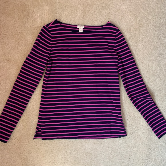 J. Crew Tops - J. Crew pink and navy striped top